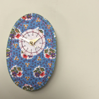 French fabric clock- blue portrait