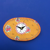 French fabric clock- mustard landscape
