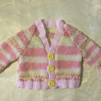 "Hand Knitted Baby girls cardigan in pink and yellow 3 months 19"" Chest"