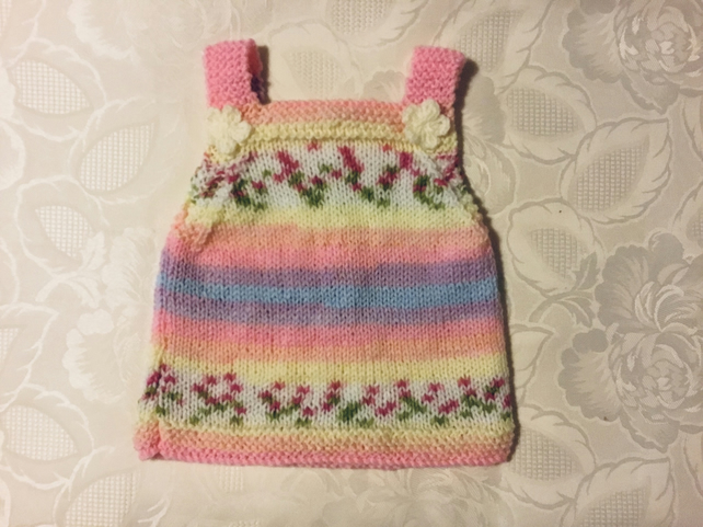 Hand knitted Baby girls pinafore dress in pink and yellow yarn 0-3 Months