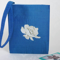 Blue silk wristlet bag