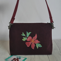Dorothy bag with appliqued clematis, made from upcycled fabric