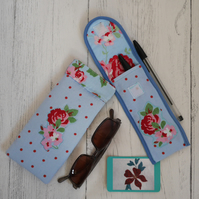 Gift set of coordinated glasses case and pen case, handbag accessories