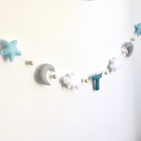 Moon, Star & Cloud Nursery Garland