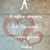 The Greatest Showman Inspired 'A million dreams' A5 valentines birthday card