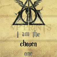 Harry Potter Inspired 'The Chosen One' Deathly Hallows poster A4