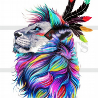 Colourful Lion, African Art Print poster A4