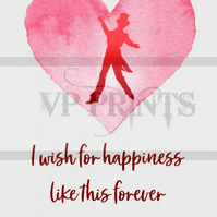 The Greatest Showman Inspired 'I wish for happiness' A5 valentines birthday card