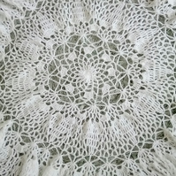 Unique handmade baby shawl in white for new baby, christening and baptisms
