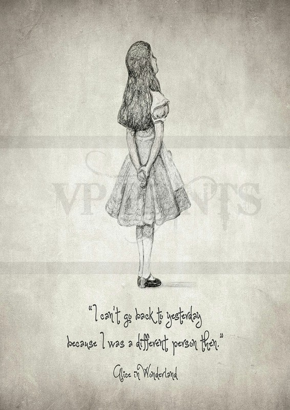 'I can't go back to yesterday' Alice in Wonderland Quote A5 blank card