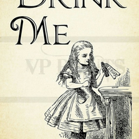 Alice in Wonderland Drink Me Quote print poster A4