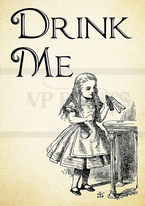 Alice in Wonderland Drink Me Quote A5 blank card