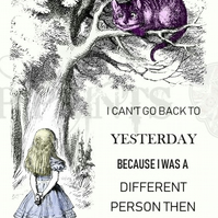 Alice In Wonderland 'Can't go back to yesterday' Quote print poster A4