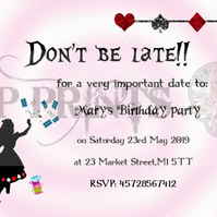 Alice in Wonderland 12x A6  birthday Tea Party invitations