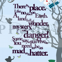 Alice In Wonderland 'Mad as a hatter' quote print poster A3