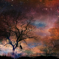 Black Cat Graveyard Cosmos Space Universe A5 poster print