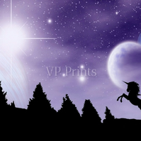 Unicorn Night Time Scene Stars and The Universe A5 poster print