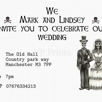 Alternative Wedding Evening Invitations 12xA6 steam gothic steampunk psychobilly