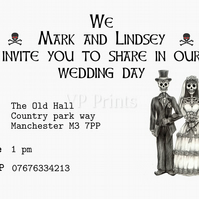 Alternative Wedding Day Invitations 12xA6 steam gothic steampunk psychobilly