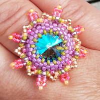 "beaded ring ""Cocktail anyone?"" (turquoise, pink)"