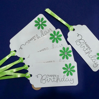 Handmade Gift Tags - 5 Gift Tags with a Green Flower & Green Curling Ribbon