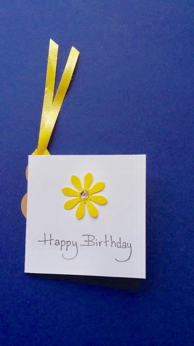 Handmade Square Gift Tag with a Yellow Flower & Curling Ribbon