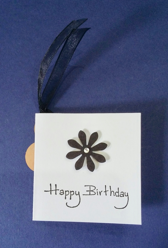 Handmade Square Gift Tag with a Black Flower & Organza Ribbon