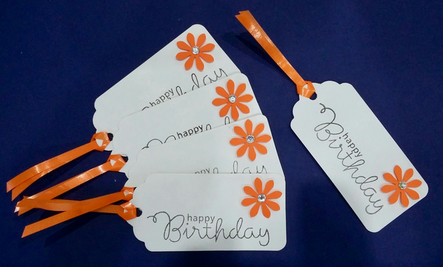 Handmade Gift Tag - A Set of 5 Tags with an Orange Flower & Curling Ribbon