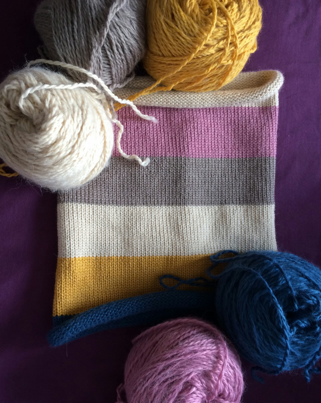 Multicoloured striped snood scarf