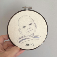 Hand Embroidered Custom Baby Portrait - by Jo George Designs - Unique Baby Gift