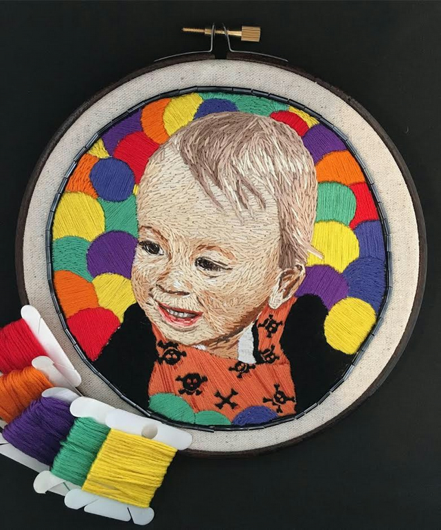 Hand Stitched Portrait - Textile Art Portrait - Child Baby Portrait Gift