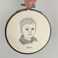 Hand Embroidered Custom Child Baby Portrait - by Jo George Designs
