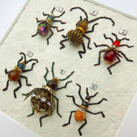 6 beautiful handmade steampunk bead bees, bugs & beetles framed & ready to hang.