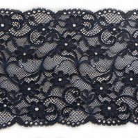 "Navy Blue Wide Soft Stretch Lace Trim 6.5"" -  17cm wide - Price per metre"