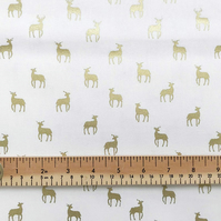 Christmas Fabric 110cms Wide, 140gsm, Scandi Gold Metallic Stags - Reindeer