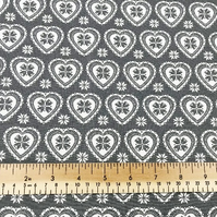 Cream on Grey Scandi Love Heart Print - 112cm 100% Cotton Fabric - Per Metre