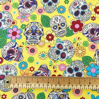 Rose & Hubble - 100% Cotton - Day of the Dead - Halloween Skull Fabric - Yellow