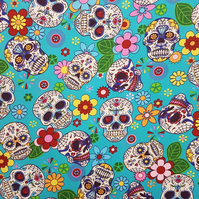 100% Cotton - Day of the Dead - Halloween Skull Fabric - Turquoise