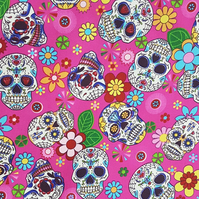 Rose & Hubble - 100% Cotton - Day of the Dead - Halloween Skull Fabric - Pink