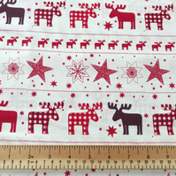 100% Cotton Fabric - Christmas Nordic Design Red 135cm Wide - Sold per m