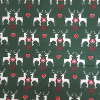100% Cotton Fabric - Stags - Love Hearts on a Deep Green Background
