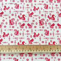 100% Cotton - Natural Red Scandi Squirrel Print - Fabric Material Metre
