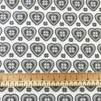 Grey on Cream Scandi Love Heart Print - 112cm 100% Cotton Fabric - Per Metre