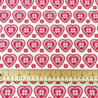 Red on Cream Scandi Love Heart Print - 112cm 100% Cotton Fabric - Per Metre