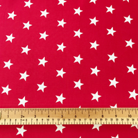Rose & Hubble Cotton Poplin Fabric Material - Red with White Stars - 1 Metre