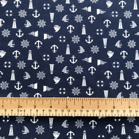 Quality Crafting Fabric 110cms Wide, 130gsm, 100% Cotton Poplin Nautical Print