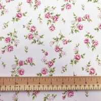 100% Cotton Poplin Fabric - Pink Rose Print on Pink Background - Craft Fabric