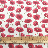 100% Cotton Poplin Fabric - Red Poppy Flower Print on Ivory Background