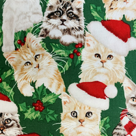 Quality Crafting Fabric 110cms Wide, 150gsm, 100% Cotton Poplin - Christmas Cats
