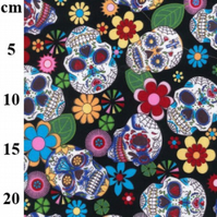 Rose & Hubble - 100% Cotton - Day of the Dead - Halloween Skull Fabric - Black